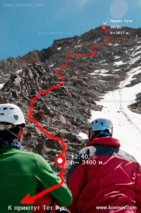 Верхняя часть скального контрфорса