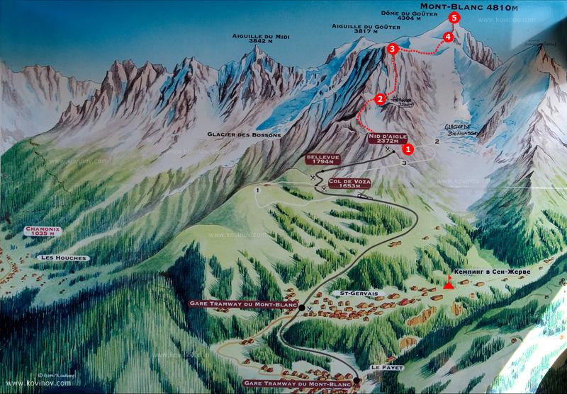 Карта классического маршрута восхождения на Монблан