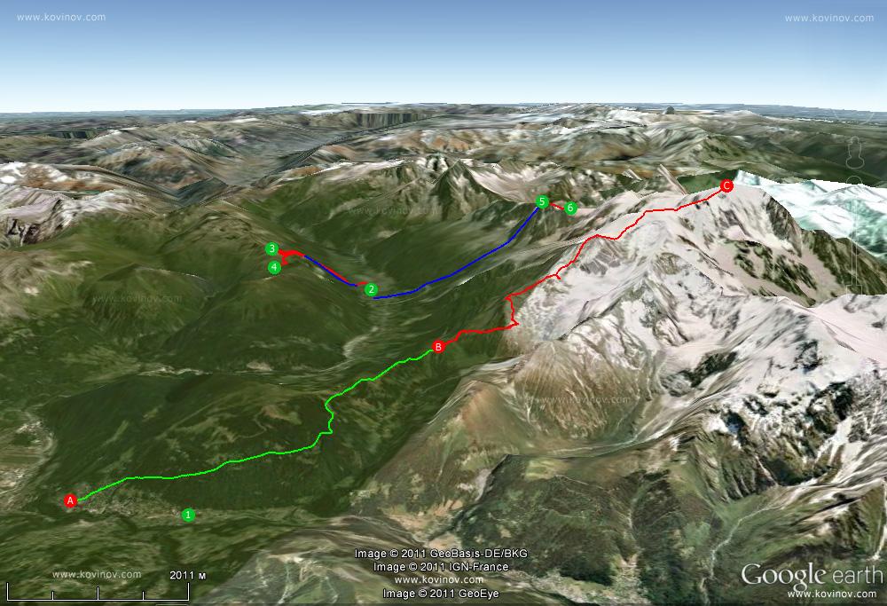схема маршрутов в долине Шамони