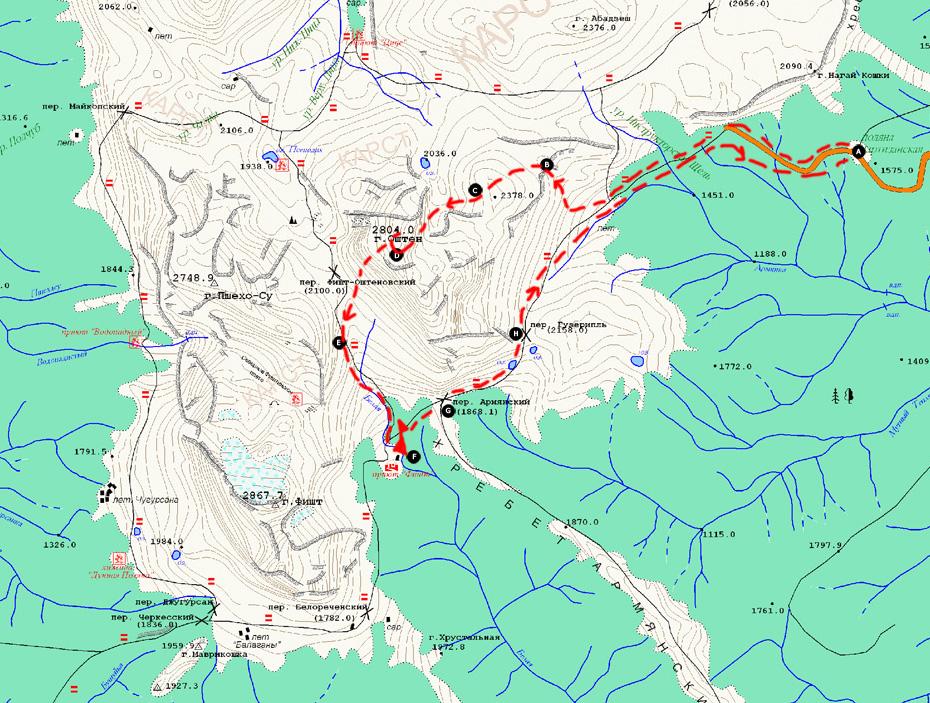 карта восхождения на Оштен