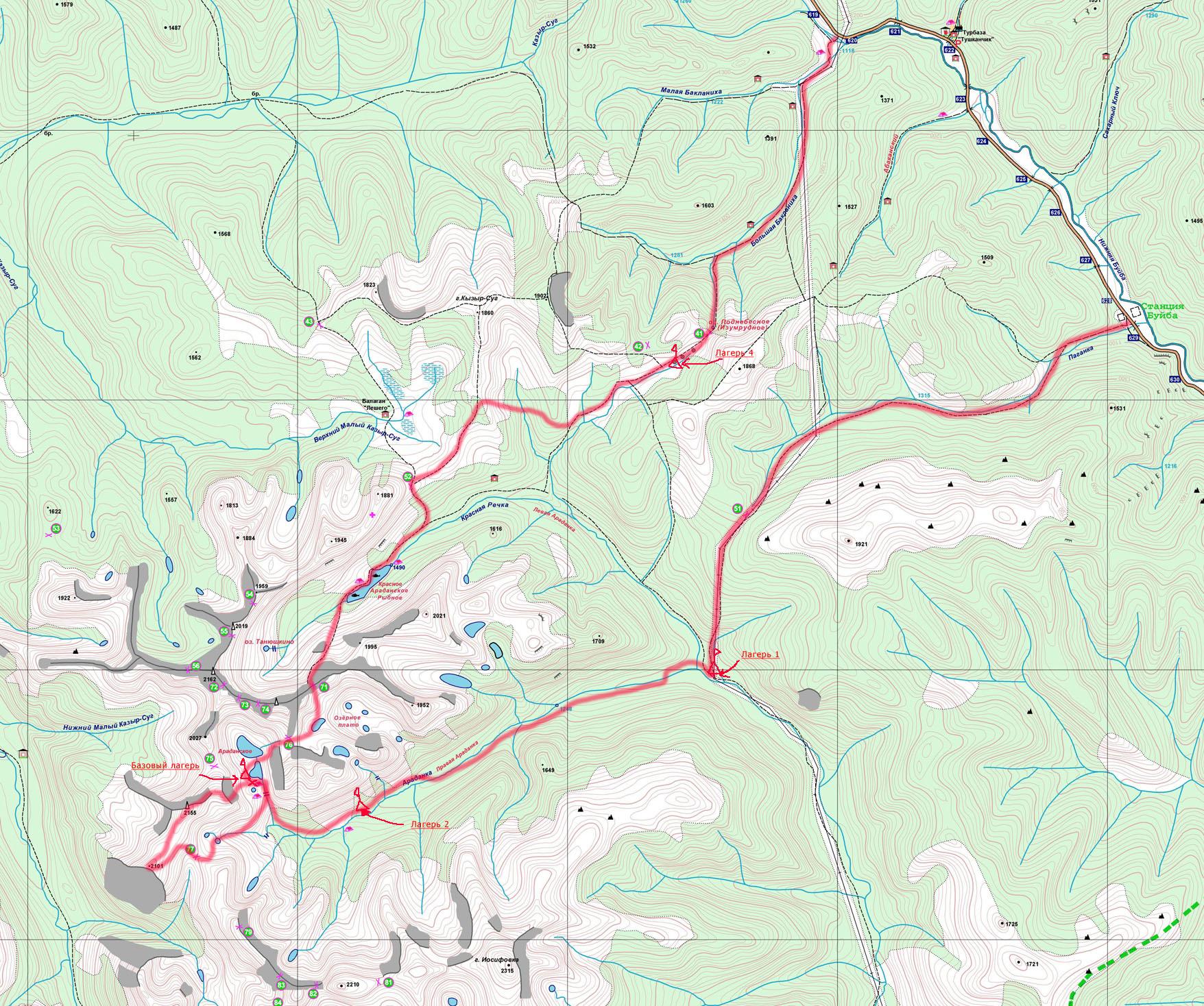 схема маршрута пешего похода